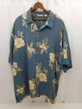 Izod Mens Hawaiian Shirt Blue Floral Short Sleeve Button Silk XL Machine... - $18.37