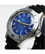 Vostok Amphibian 120656 /2415 Military Russian Diver Watch Scuba Dude Blue - $73.87