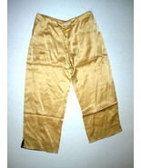 New NWT Designer Natori Gold Silk Pants Womens XS Lounge Sleep Crop Date... - $193.70