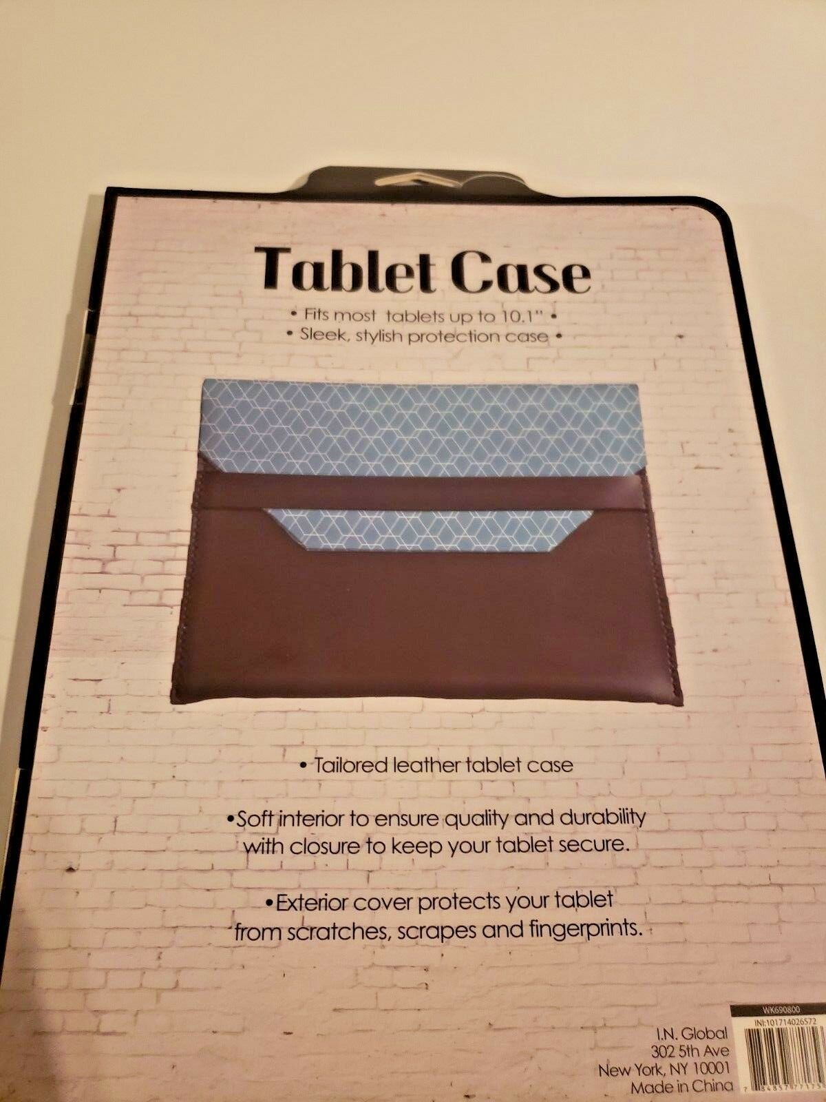 """Tailored Leather Tablet Case Fits Up To 10.1"""" (Teal and grey) image 3"""