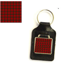 leather and silver plated metal keyring, square design ,mc nab tartan design  ha