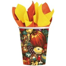 Autumn Turkey 8 Paper Hot Cold 9 oz Cups Fall Thanksgiving - $3.95