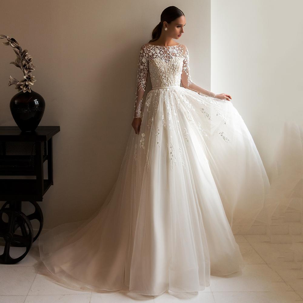 Incess long sleeves bridal gowns wedding dresses 2020 vestido de noiva muslim a line beach scoop