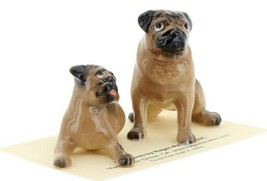Hagen Renaker Dogs Pug Mama and Baby Tan Ceramic Figurine