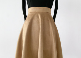 Women SUEDE Circle Skirt Autumn Winter SUEDE Midi Party Skirt, Camel Black Green image 5