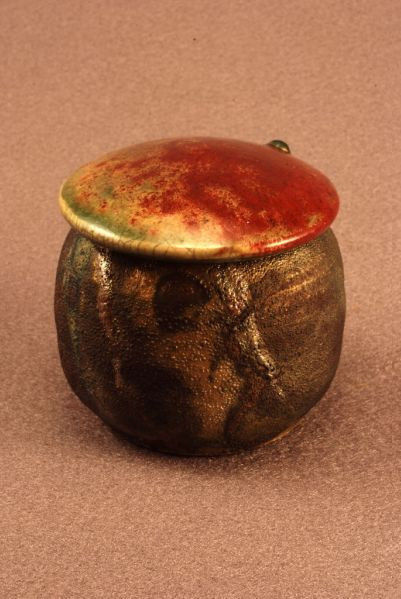 RAKU Unique Ceramic Companion Small/ Keepsake Funeral Cremation Urn #K002