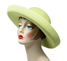 Green Broad Brim Hat - Casual to Dressy - Party, Wedding, Church, Beach - $24.00