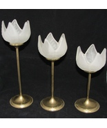 1970s Candleholders Brass Tulips Frosted Glass White Set of 3 Satin Glass - $40.00