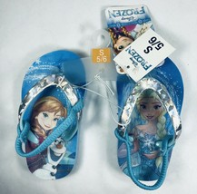 Disney Frozen Turquoise Holographic Flip Flops Girls Sandals Small 5/6 N... - $6.92