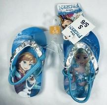 Disney Frozen Turquoise Holographic Flip Flops Girls Sandals Small 5/6 NWT Elsa - $6.92