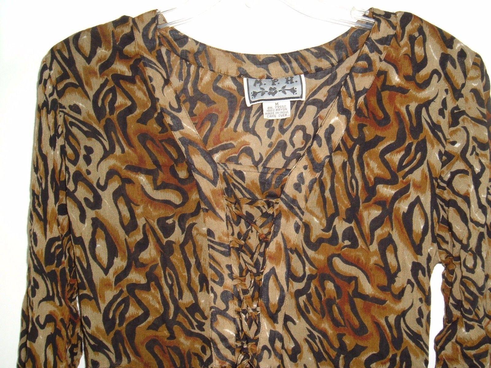 Vtg M.P.H. Rayon Boho Peasant Animal Print Lace Front Long Crinkle Dress Sz M