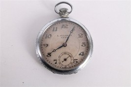 Antique Old Swiss Made L. Gyona Lyon Open Face Mens Pocket Watch. - $75.74