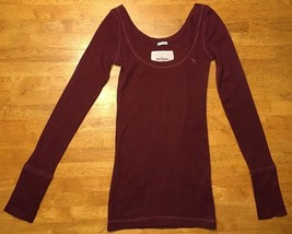 Abercrombie Girl's Maroon Long Sleeve Scoop Neck Shirt - Size: Large - $14.84