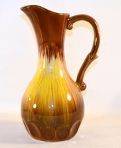 Vintage Art Pottery Yellow & Brown Drip Glazed Pitcher - $18.80