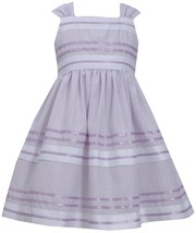 Bonnie Jean Little Girl 2T-4T Lavender-Purple Metallic Pencil Stripe Dress