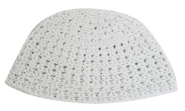 Knitted Crochet White Frik Kippah Yarmulke Yamaka 21 cm 100% Cotton