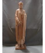 Wood Carving Statue St. Peter Holding Keys ~ Roman Catholic Art - $46.00