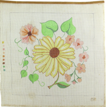 1970's Hand Painted Needlepoint Sunflower Sunny Spring Day  12CT - $36.04