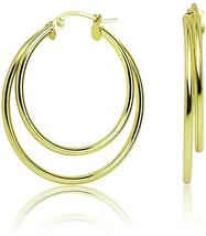 Gold Flashed Sterling Silver 30mm Double Circle Round Click-Top Hoop Earrings - $54.94