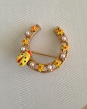 Vintage ART Horseshoe Enamel Flowers Lady Bug Faux Pearl Fashion Brooch - $25.00
