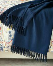 Ralph Lauren Rue Vaneau Everly Navy  Blue linen Throw Blanket 54 x 72 rt $285 - $167.46