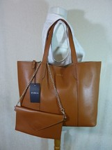 NWT Furla Cuoio Brown Pebbled Leather Large Elle Tote Bag $348 - $295.02