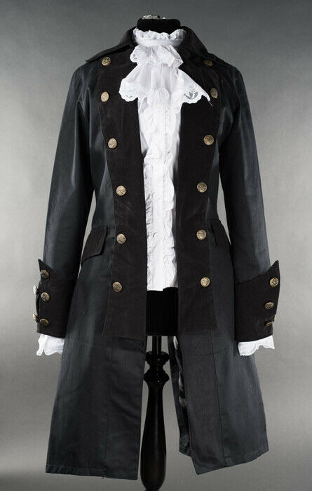 Black Gothic Victorian Officers Jacket Steampunk Long Pirate Princess Coat