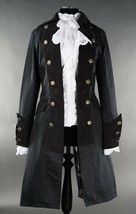 Black Gothic Victorian Officers Jacket Steampunk Long Pirate Princess Coat - $119.99