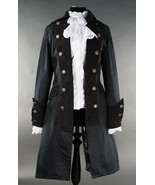 Black Gothic Victorian Officers Jacket Steampunk Long Pirate Princess Coat - $105.45