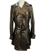 LAFAYETTE 148 NY Womens Trench Jacket Nylon Double Breasted Crinkle Bron... - $48.50
