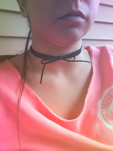 Triple Wrapped Black Suede Bow Choker Necklace Triple Layered Choker Bla... - $64.00
