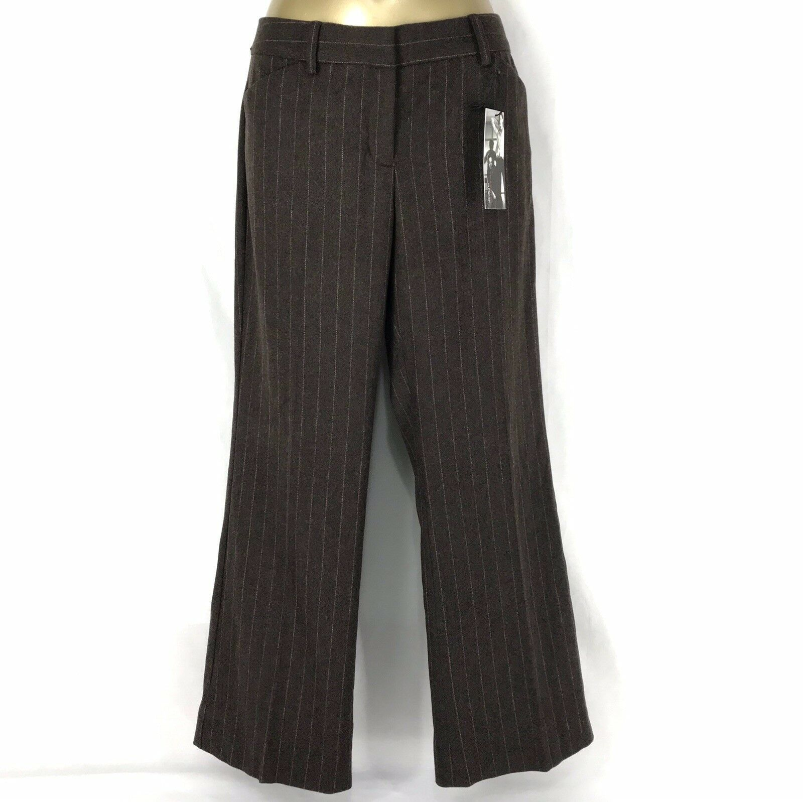 Express Editor Low Rise Flare Brown Pink Pinstripe Wool Pants Womens Size 6 NWT - $30.34