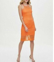 Guess Womens Med Orange Lace Halter Neck Sleeveless Sheath Bodycon Dress... - $70.00