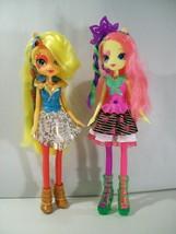 "LOT 2 MY LITTLE PONY EQUESTRIA GIRLS RAINBOW ROCKS 9"" DOLLS APPLEJACK FL... - $26.41"