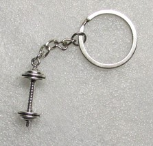 Fitness Equipment DUMBELL Weights Silver Metal KEY CHAIN Ring Keychain NEW - $9.99