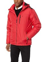 IZOD Men's Water Resistant Hooded Puffer Bomber Jacket, red, Large - $60.00