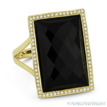 Checkerboard Onyx & 0.21ct Diamond Right-Hand Cocktail Ring in 14k Yello... - £611.01 GBP