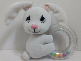 Love n' Care Vtg Baby Bunny Rattle White Plush Toy Pastel Beads Precious... - $35.99