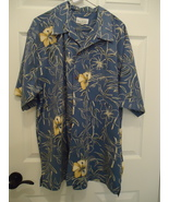 HH13 Hawaiian Tropical Bill Blass Shirt Blue Hibiscus XL 46 SOFT Polyester - $11.00