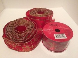 christmas ribbon red gold wire edge 15 wide poinsettias