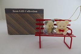 Avon Teddy Bear Ornament Collection Teddies on Bench - $5.89