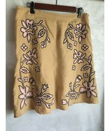 Vintage Central Falls Linen Tan Skirt Size 12 Lined Embroidery Black Pink  - $23.51