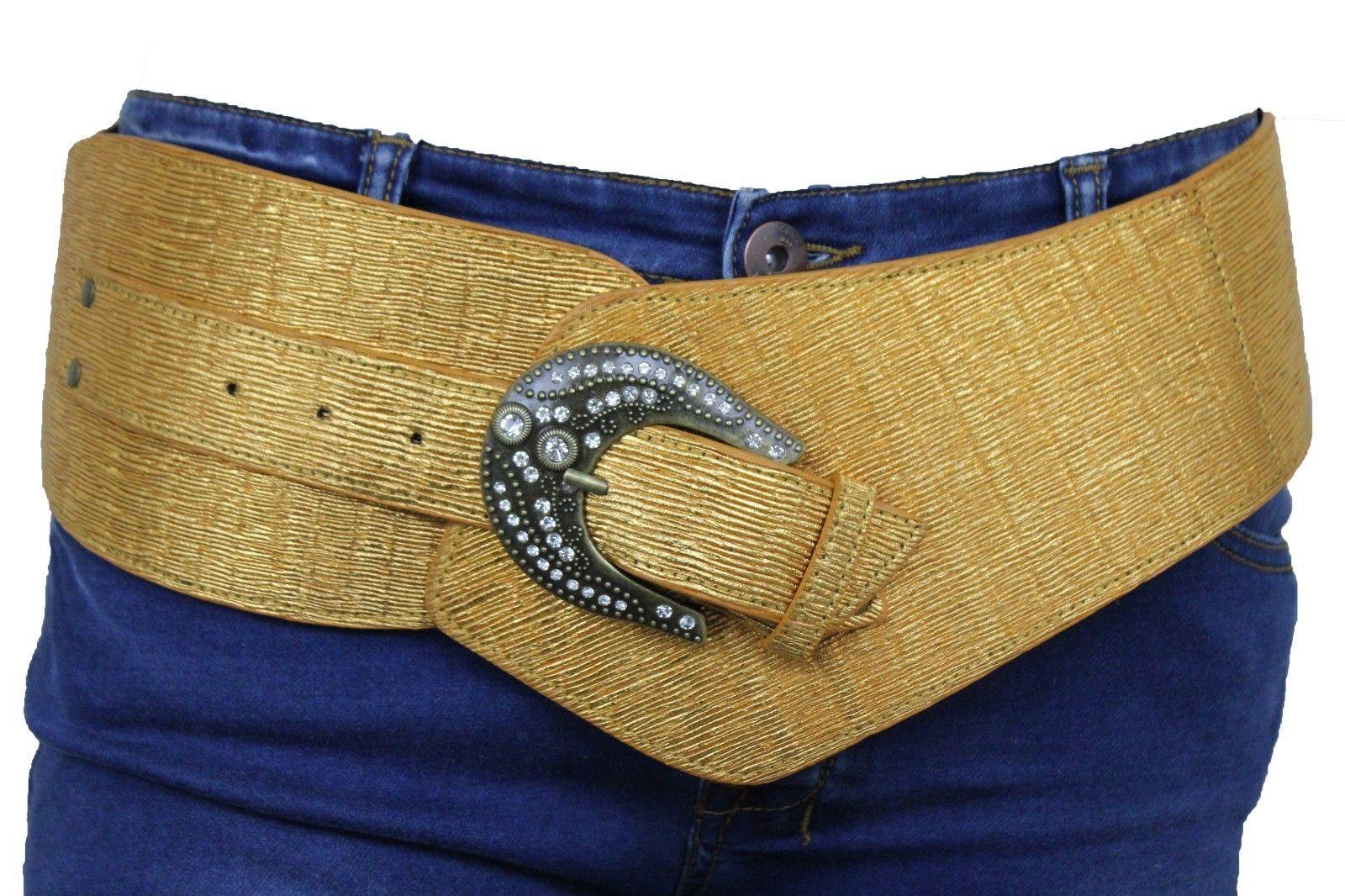 New Women Yellow Stretch Band Belt Hip Waist Fashion Gunmetal Buckle Size M L XL