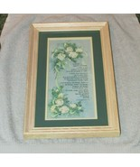 LOVE poem surrounded w/white roses on pale blue, green mat, cream wood f... - $9.50