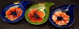 3 Moorcroft Teardrop Ashtrays 2 Blue Anemone 1 Green Hibiscus Original S... - $49.99