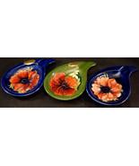 3 Moorcroft Teardrop Ashtrays 2 Blue Anemone 1 Green Hibiscus Original S... - $49.99