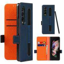 For Samsung Galaxy Z Fold 3 5G Wallet Leather Full hard back Flip Case c... - $103.85