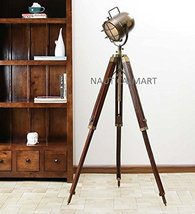 NAUTICALMART FLOOR STANDING ANTIQUE BROWN SHEESHAM WOOD TRIPOD FLOOR LAMP - $166.59