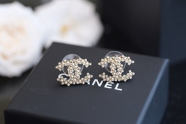 Authentic Chanel 2019 Classic CC Logo Crystal Gold Stud Earrings