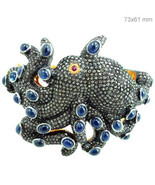 Sapphire Gemstone 14k Gold Pave 11.3ct Diamond OCTOPUS Bangle 925 Silver... - £1,394.78 GBP